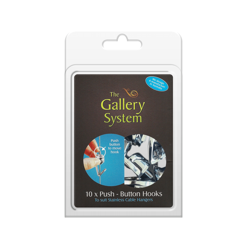 The Gallery System Push Button Hooks – Pack Shot
