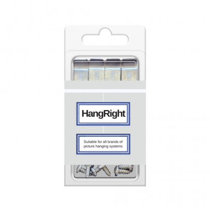 HangRight Clips - Stop forward leaning frames and canvases on picture hanging systems