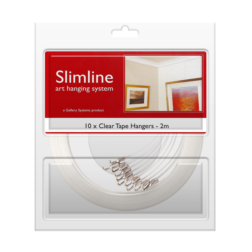 The Slimline Art Hanging System Clear Tape Droppers – Pack Shot