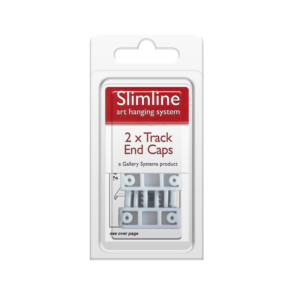 The Slimline Art Hanging System White Track End Caps – Pack Shot