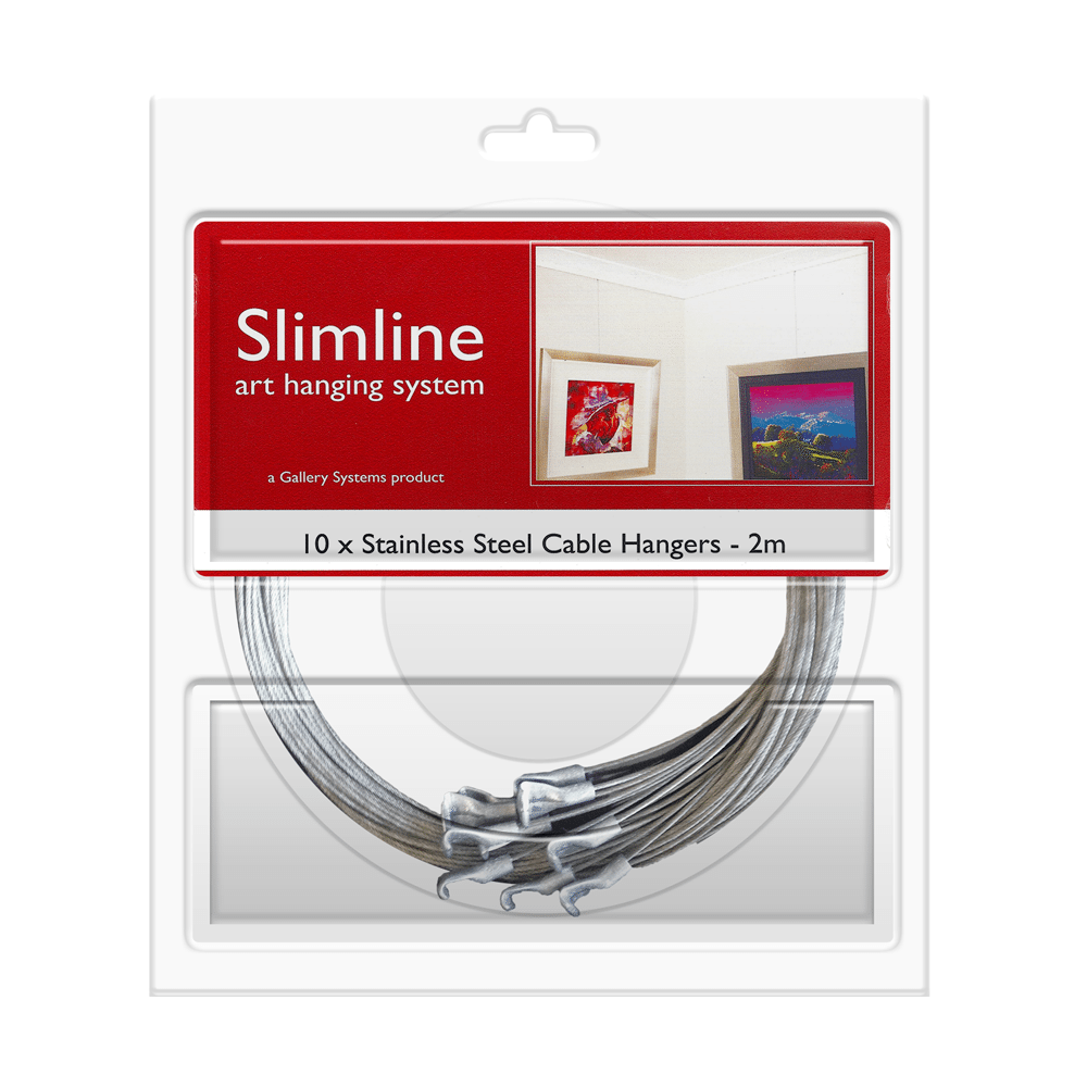 The Slimline Art Hanging System Stainless Steel Cable (wire) Droppers – Pack Shot
