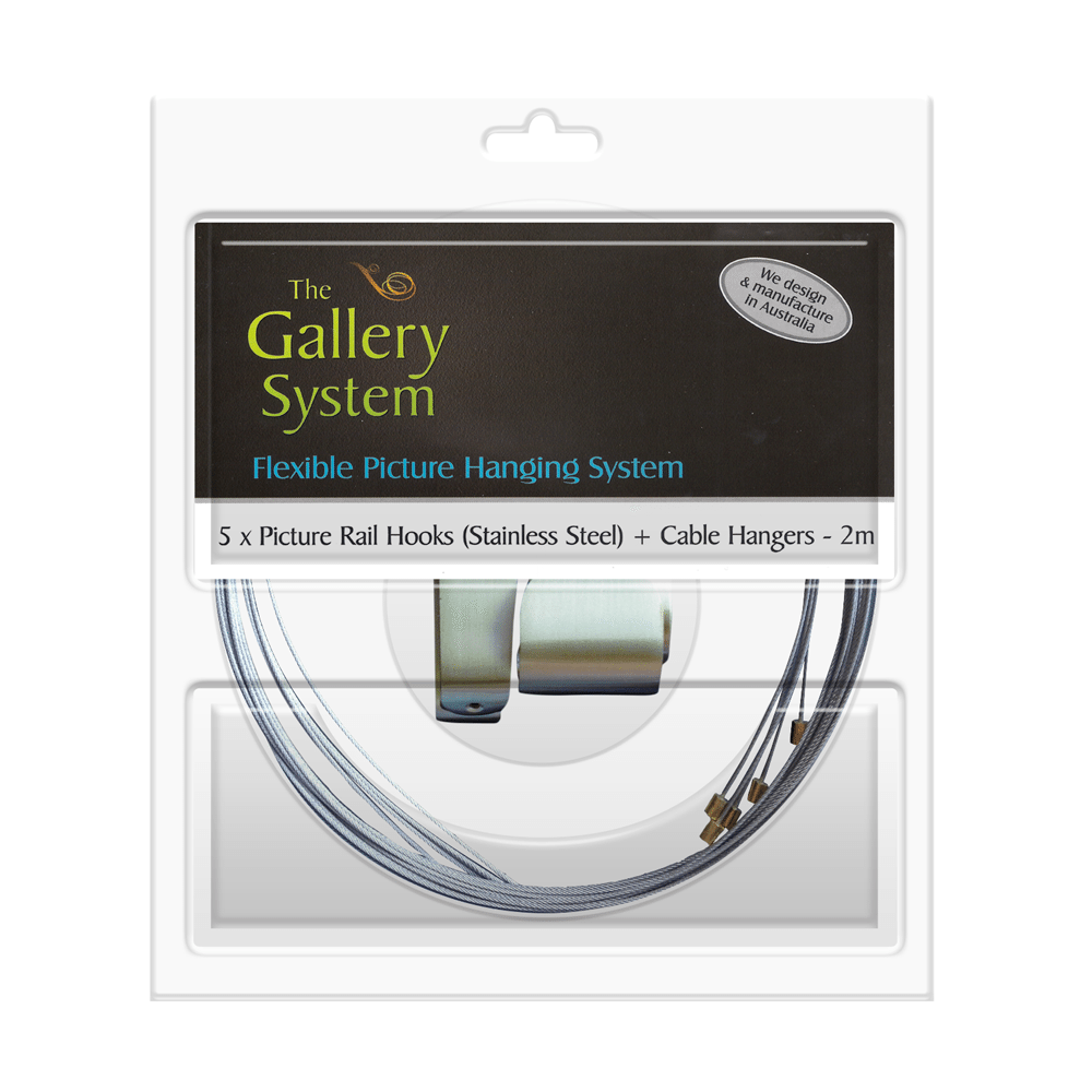 Stainless Steel Picture Rail Hooks with wire cables pack of 5 – no adjustable hangers included