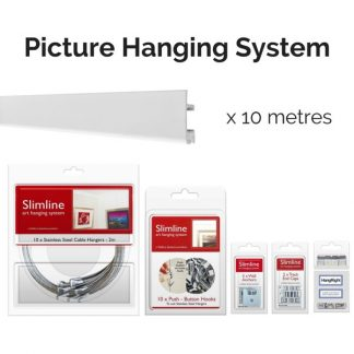 Picture Hanging Systems - 10 metres of white track, 10 stainless steel droppers, 10 push button hooks, wall anchors, end caps and HangRight Clips
