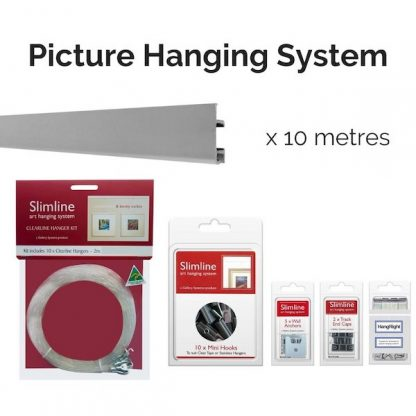 Picture Hanging System Starter Bundle - Slimline System with Silver Track and Clear Line Droppers