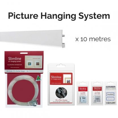 Picture hanging System Slimline Art Hanging System Starter Bundle with Clear Line droppers