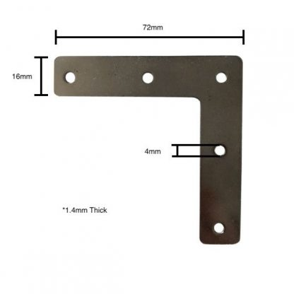Corner mending plate for picture frames with measurements